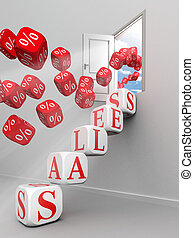 porte, ventes, haut, étapes, mot, ouvert, rouges