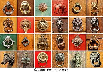 porte, vieux, collection, élégant, divers, knockers