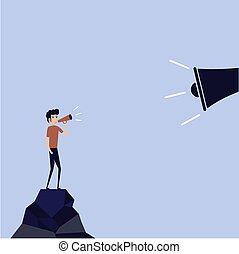 porte voix, analyse, tenue, homme affaires, faire, announcement., grand, risque, bureau, megaphone., homme, iceberg., annoncer, iceberg, &, directeur, ouvrier, petit