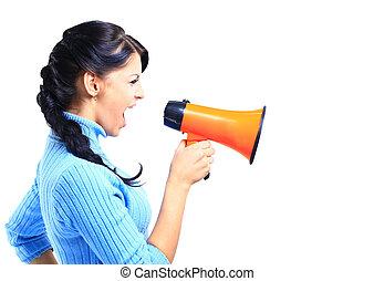 porte voix, femme, par, jeune, parler