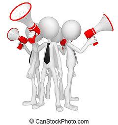 porte voix, groupe, professionnels