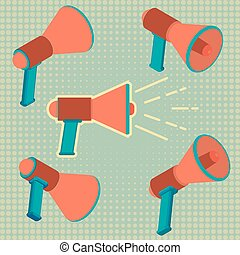 porte voix, haut-parleur, ensemble