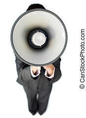 porte voix, instructions, femme affaires, donner