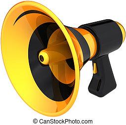 porte voix, noir, coloré, jaune
