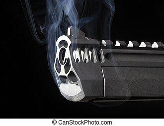 ported, pistole, rauchwolken