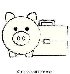 portefeuille, économies, porcin