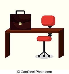 portefeuille, bureau affaires, lieu travail