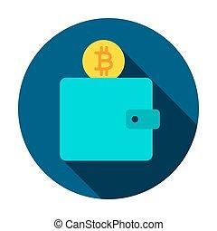 portefeuille, cercle, bitcoin, icône