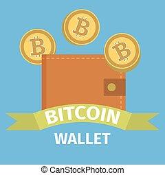 portefeuille, concept, bitcoin