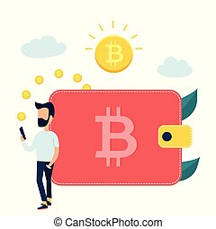 portefeuille, concept, conception, bitcoins, replacer