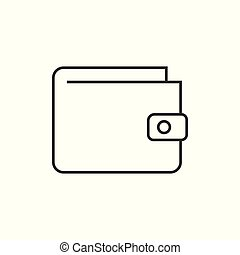 portefeuille, contour, icône