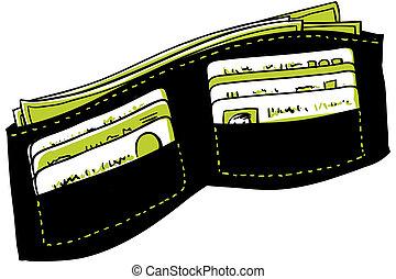 portefeuille, dessin animé