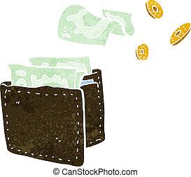 portefeuille, dessin animé, répandre, argent