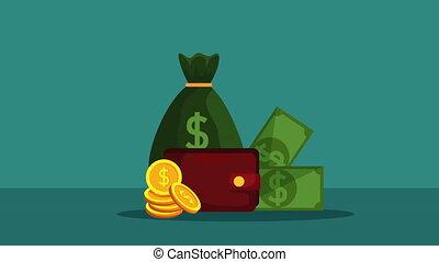portefeuille, dollars, factures, argent