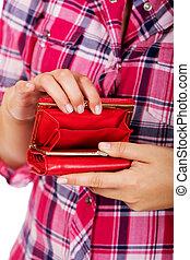 portefeuille, femme, rouges, vide, tenue
