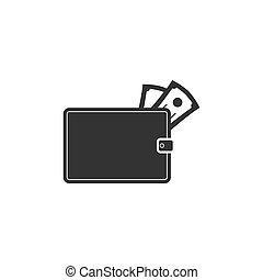 portefeuille, icône, plat