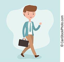 portefeuille, marche, caractère, jeune, homme affaires