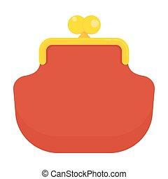 portefeuille, rouges, icône
