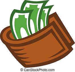 portefeuille, vecteur, argent, icône
