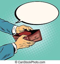 portefeuille, vide, argent, non