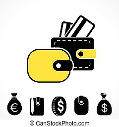 portemonaie, pocketbook, vector, of, pictogram