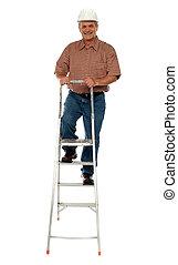 porter, échelle, ouvrier dur, escalade, chapeau