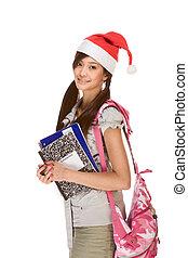 porter, école, portables, santa, sac à dos, claus, livre, stylo, asiatique, tenue, girl, chapeau, composition, rouges