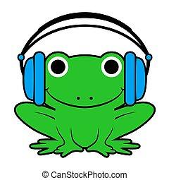 porter, écouteurs, grenouille, vecteur, dessin animé, heureux