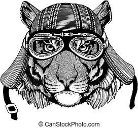 porter, écusson, t-shirt., image, chat, emblème, tatouage, main, tigre, motard, pièce, motocyclette, animal, sauvage, dessiné, helmet., logo