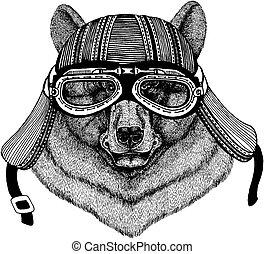 porter, écusson, t-shirt., image, emblème, ours, main, motard, pièce, motocyclette, animal, sauvage, dessiné, tatouage, helmet., logo