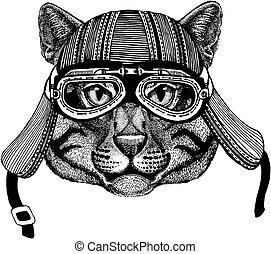 porter, écusson, t-shirt., image, emblème, tatouage, chat, motard, pièce, motocyclette, animal, sauvage, dessiné, main, helmet., logo