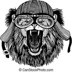 porter, écusson, t-shirt., image, lion, tatouage, main, motard, pièce, motocyclette, animal, sauvage, dessiné, helmet., logo, emblème
