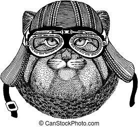 porter, écusson, t-shirt., manul, chat, emblème, tatouage, main, motard, pièce, motocyclette, animal, sauvage, dessiné, helmet., image, logo