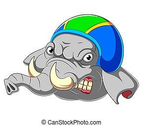 porter, éléphant, coureur, casque