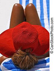 porter, été, femme, chapeau, séduisant