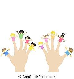 porter, 10, marionnettes, main, doigt, enfants