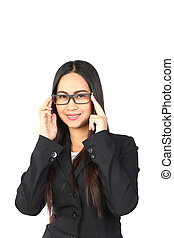 porter, affaires femme, lunettes