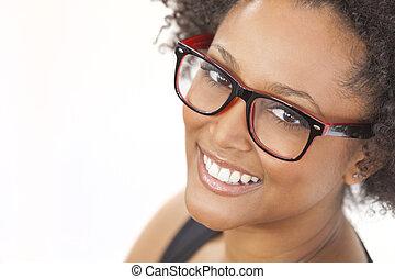porter, américain, course, africaine, mélangé, girl, lunettes