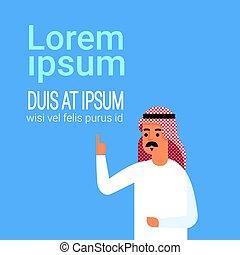 porter, arabe, copie, point, espace, haut, traditionnel, doigt, homme, homme affaires, islam, vêtements