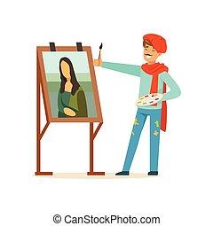 porter, artiste, caractère, béret, illustration, vecteur, moustache, brosse, femme, portrait, mâle, peinture, peintre, rouges
