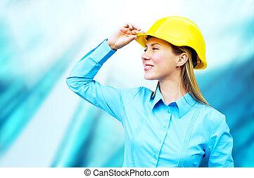 porter, bâtiment, protecteur, architect-woman, jeune, debout, casque, fond