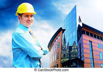 porter, bâtiment, protecteur, casque, jeune, debout, architecte, fond