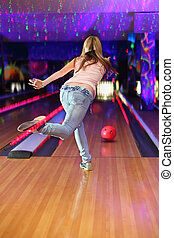 porter, balle, club, blanc, jean, dos, t-shirt, bowling, ...