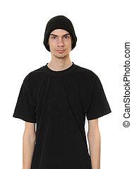 porter, beanie, mec, noir, chapeau blanc