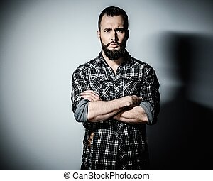 porter, beau, checkered, chemise, homme, barbe