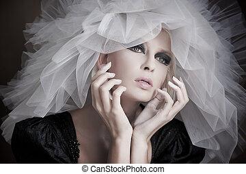 porter, beauté, jeune, fin, portrait, chapeau blanc
