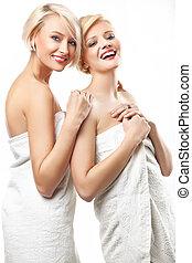 porter, beauté, serviettes, femmes