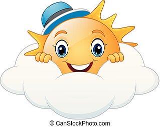 porter, bleu, soleil, casquette, sourire, dessin animé, nuage