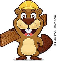 porter, bois, construction, tenue, castor, chapeau, planche