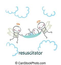 porter, brancard, patient, resuscitator